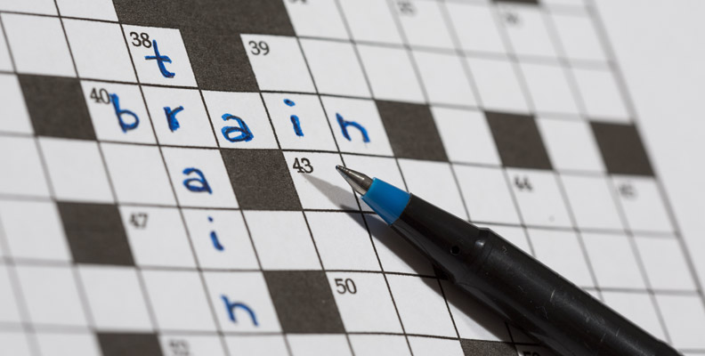 crossword puzzle with train and brain intersecting