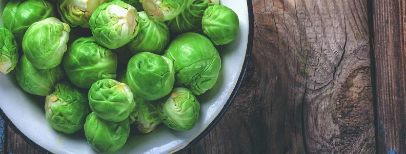 Brussels sprouts are a cruciferous vegetable containing gut-healthy compounds.