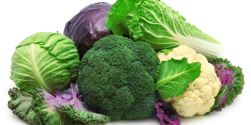 whole vegetables arranged together including cabbage, broccoli, and various kinds of lettuce