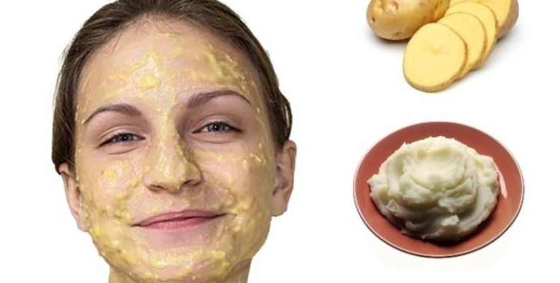 raw potato, mashed potatoes, and a woman with potato on her face